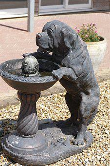 Statue, Sculpture, Dog, Stone, Monument, Drinking
