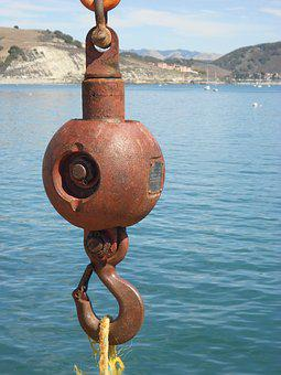 Ship, Hook, Weight, Pier