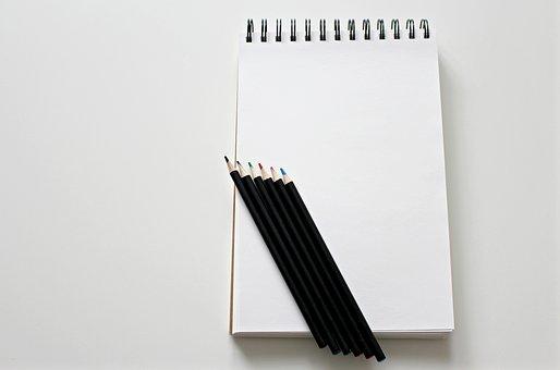 Notebook, Paint, Pens, Colour Pencils, Desk, Workplace