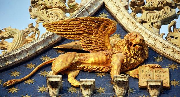 Winged Lion, Venice, St Mark's Basilica, Gold, Dom