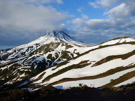 Volcano, Giant, Mountain, Nipple, Snow, Landscape