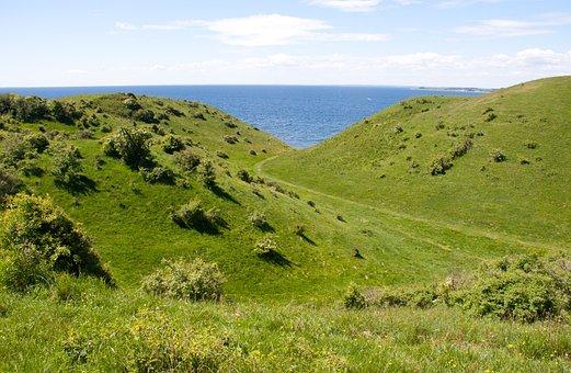 Moegelskaar, Samsoe, Denmark, Hills, Green, Vegetation