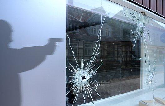 Burglar, Shot, Shoot, Pistol, Weapon, Gun, Police