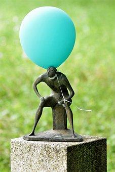 Sculpture, Man, Sitting One, Balloon, Art, Artwork