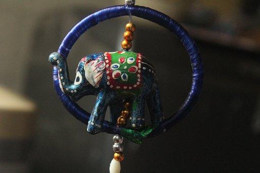 Blue Elephant, Wooden Toy, Handicraft, Blue Ring