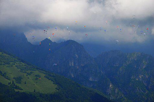 Mountains, Clouds, Paragliding, Sky, Forest, Travel