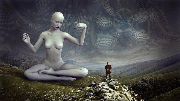 Fantasy, Deity, Landscape, Dimension, Human, Woman
