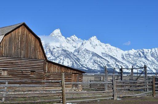 Tetons, Barn, Antelope Flats, Grand Teton, Mountains