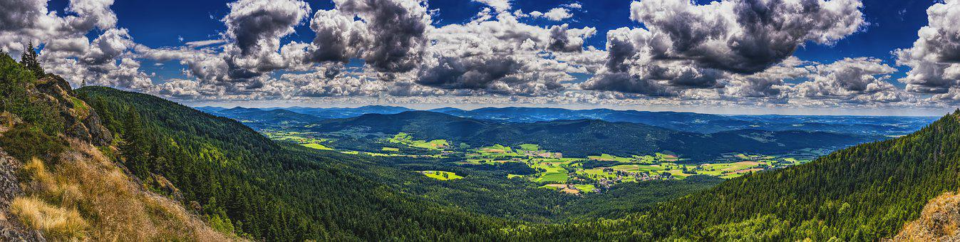 Panorama, Bavarian Forest, Mountains, Forest, Nature