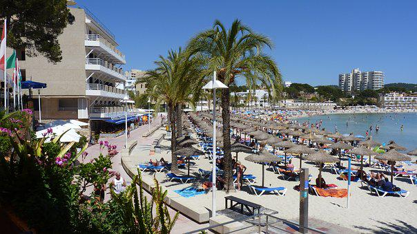 Summer, Sun, Beach, Peguera, Holiday, Palm, Parasol