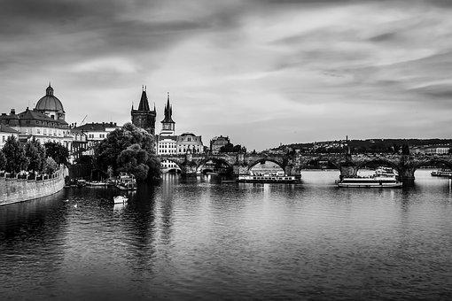 Prague, Czech Republic, River, Water, Reflections