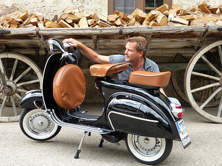 Man, Vespa, Roller, Moped, Motor Scooter, Vehicle