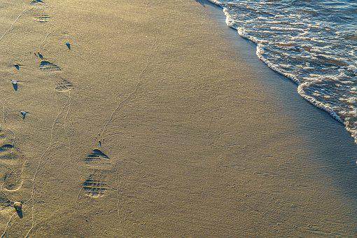 Sand, Beach, Footprints, Brown Sand, Footprint, Traces