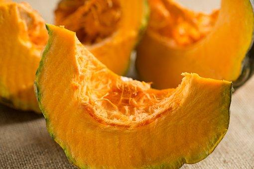 Pumpkin, Slice, Vegetable, Autumn, Orange, Fresh