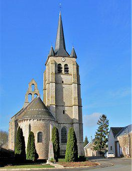 Church, Steeples, Wall-bell Tower, Cormainville Beauce