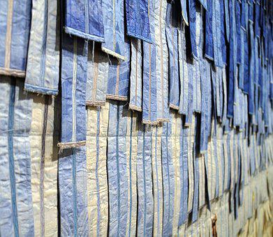 Fabric, Fabric Bands, Textile, Blue, Art Installation