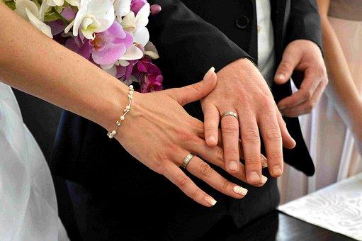 Before, Wedding Rings, Hands, Bride And Groom, Wedding