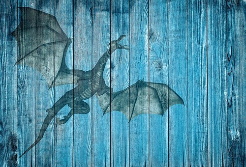 Dragon, On Wood, Blue, Background, Stationery, Poster