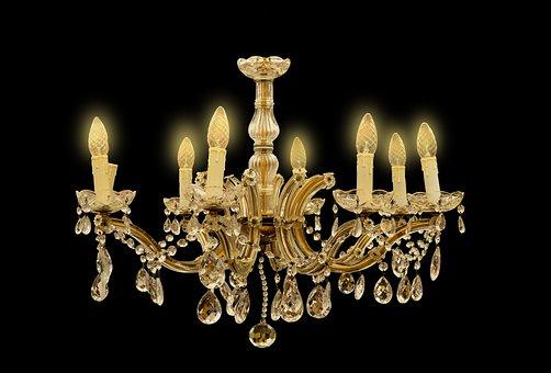 Chandelier, Lamp, Candlestick, Isolated, Lighting