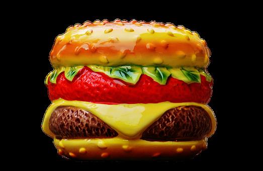 Cheeseburger, Piggy Bank, Ceramic, Fragile, Decoration