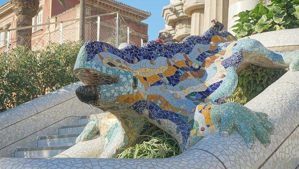 Gaudi, Park Güell, Lizard, Mosaic