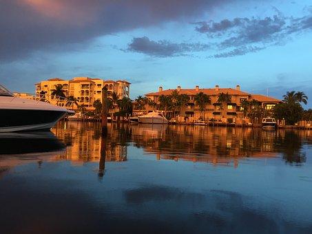 Abendstimmung, Boot, Sunset, Afterglow, Lake