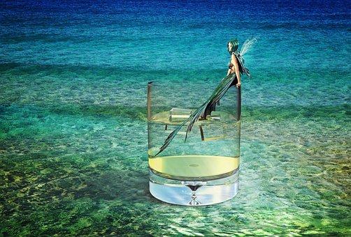 Mermaid, Sea, Water, Water Glass, Drinking Glass