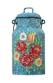 Milk Can, Painting, Ornament, Deco, Decoration, Painted