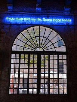 Neon Light, Window, Bow Window, Blue, Neon Lamps, Neon