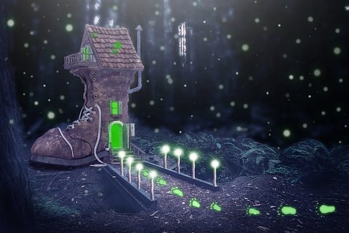 Shoe, Boots, Home, Boots House, Fantasy, Night