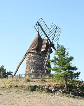 Windmill, Nature, Landscape, France, Tourist, Old