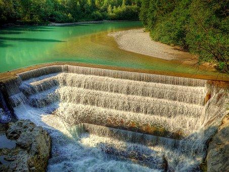 Lech, River, Bavaria, Water, Landscape, Weir, Force