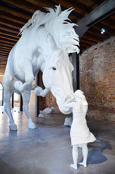 Horse, Girl, White, Thoughts, Sculpture, Animal