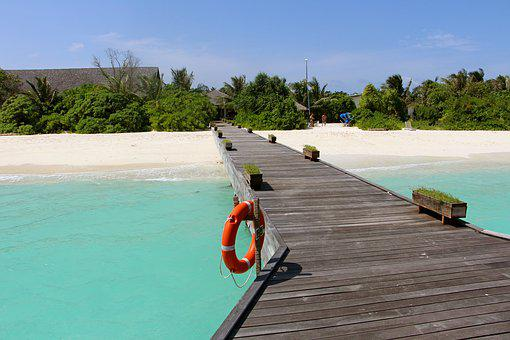 Web, Sea, Boardwalk, Water, Turquoise, Maldives