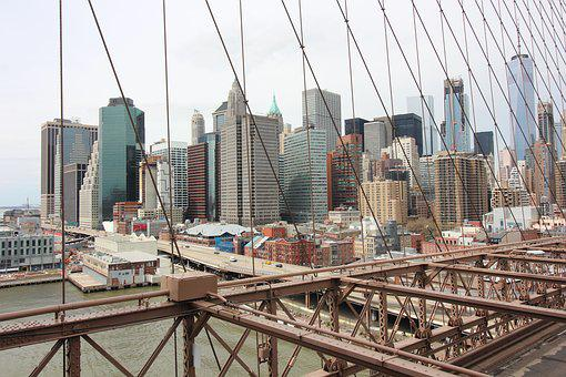 Manhattan, Bridge, Brooklyn, Cityscape, Skyline, Nyc