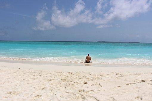 Sea, Water, Turquoise, Maldives, Holiday, Blue, Man