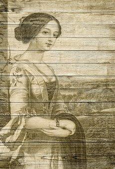 Lady, On Wood, Wood, Elegant, Woman, Vintage, Victorian