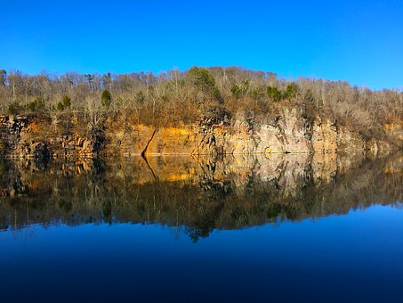 Quarry, Lake, Water, Cliff, Outdoors, Mirror