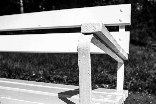 Bench, Sitting, Outdoor, Furniture, White