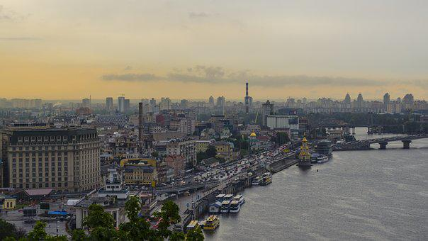 Kiev, Ukraine, Dnieper, River, Panorama, Sunset