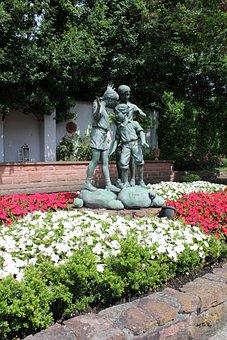 Flowers, Statue, Garden, Sculpture, Figure, Plant, Park