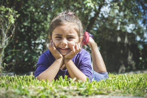 Girl, Smile, Lawn, Faces, Joy, Children, Happy Children
