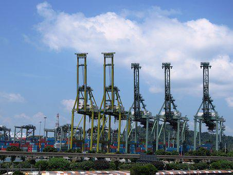 Harbor Front, Loading, Cargo, Ship, Harbor, Industry