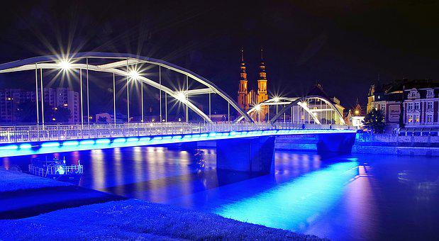 Opole, Bridge Pastowski, City, Night, Light, Buildings