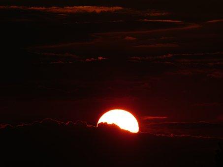 Sunset, Red, Gold, Afterglow, Abendstimmung