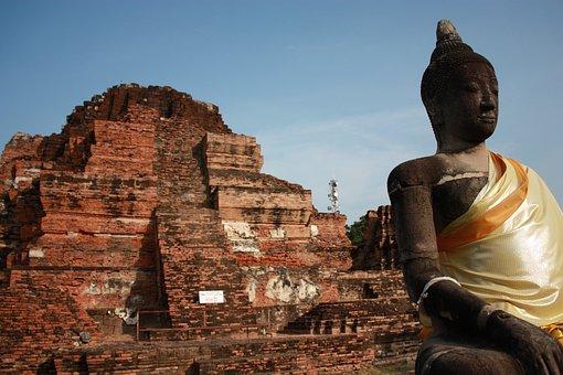 Ayutthaya, Thailand, Old City, Ruins, Red Bricks