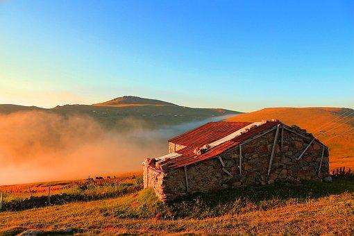 Highland, Highland House, Stone House, Blue, Sky, Grass