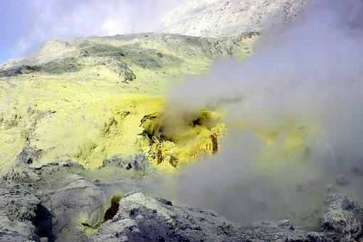 Sulfur, Steam, Volcanic, New Zealand, White Island