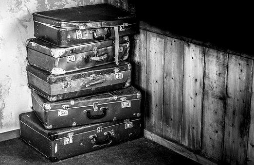 Suitcases, Train, Black, White, Travel, Trip, Transport
