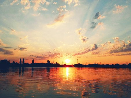 Lake, West, Sunset, The Sun, Sky, Clouds, Water, Summer